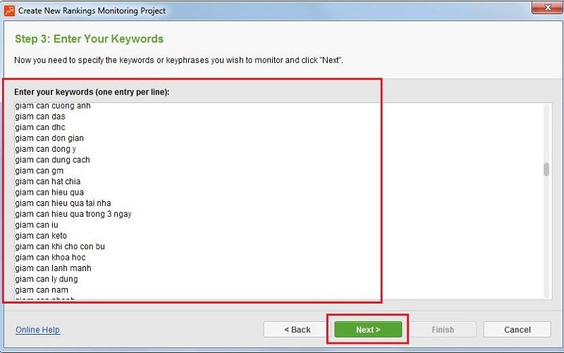 Cách 2: DùngRank Tracker để nhóm từ khóa